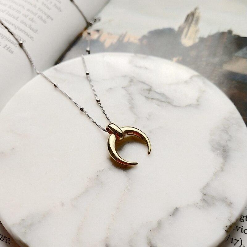 купить Sterling 925 silver moon pendant necklace gold fashion wild Crescent choker necklace for women birthday festival jewelry gift по цене 873.73 рублей
