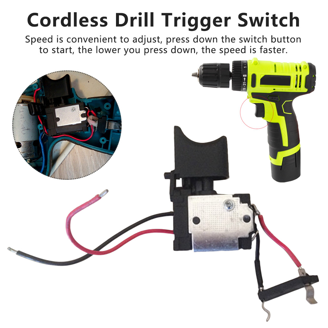 Electric Drill Dustproof Speed Control Push Button Trigger Switch DC 16A 7.2V-24V Switches