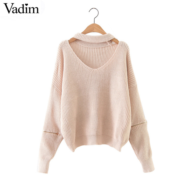 23de4991bb12b Women halter v neck knitted sweaters zipper design long sleeve 5 colors  loose pullover ladies autumn streetwear warm tops SW1089