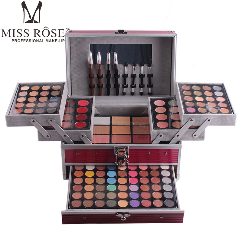 Miss Rose makeup set 10 styles Aluminum cosmetic sets for gift 94 color shimmer eyeshadow contour glow kit 3 layers MS067 miss rose professional 144 color 3 color blush 3 color eyebrow cosmetic makeup kit
