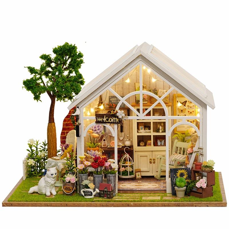 Bricolage maison de poupée en bois maisons de poupée Miniature maison de poupée Kit de meubles jouets pour enfants cadeau maisons de poupée soleil serre A063