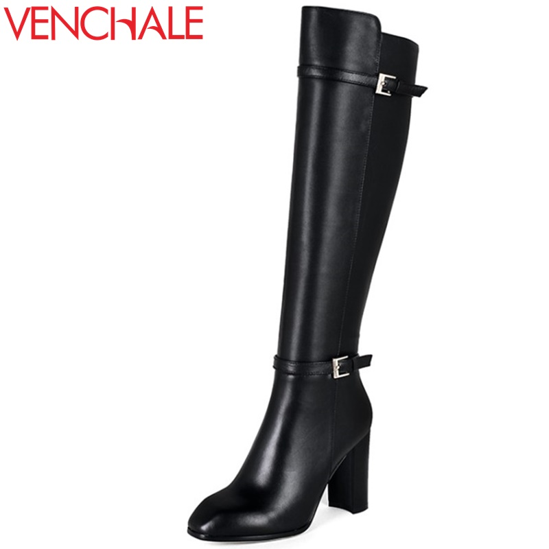 VENCHALE woman fashion boots square toe high heel buckle shoes woman black side zipper genuine leather upper woman high boots winter round toe buckle platform ankle boots fashion side zipper party woman boots square heel shoes black brown