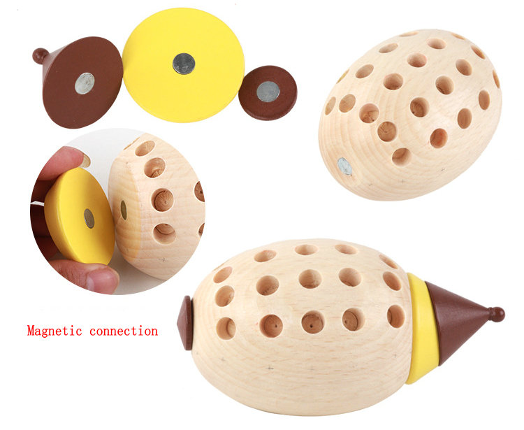 Free shipping Wood Magnetic Hedgehog Disassembly assembly Blocks toy Children 39 s interesting wooden toy hedgehog block diy toys in Model Building Kits from Toys amp Hobbies