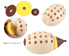 Free shipping Magnetic hedgehog blocks disassembly and assembly, Childrens interesting wooden toys model.