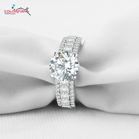 COLORFISH Victoria Wieck Rings For Women Brilliant Synthetic Diamond Ring 3 Row Round Princess Cut Zircon