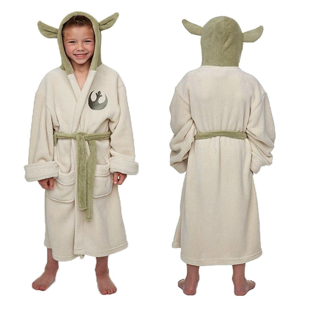 Star Wars Jedi Master Yoda Ear Fleece Hooded Robe Dress Gown Bathrobe Bath Robe Halloween Cosplay Costume