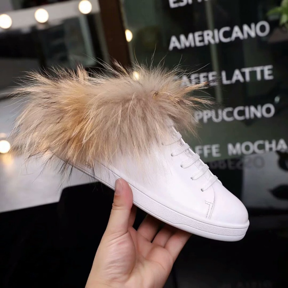 2019 Brand Star Chic Shoes Women Shoes White Leather Women Flats Fur Decor Front Lace Up Slip On Winter Zapatos Mujer Round Toe2019 Brand Star Chic Shoes Women Shoes White Leather Women Flats Fur Decor Front Lace Up Slip On Winter Zapatos Mujer Round Toe