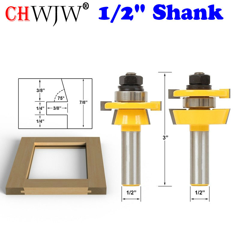 "Купить с кэшбэком 2PC 1/2"" Shank Shaker Bevel Rail & Stile Router Bit Set door knife Woodworking cutter Tenon Cutter for Woodworking Tools"