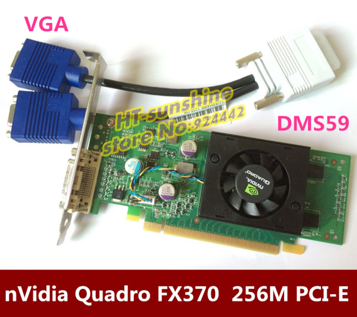 Freeshipping Quadro FX370  256M PCI-E DMS 59 Professional Video Card Warranty 1years  DMS59  to VGA cable original high quality nvidia quadro fx370 pci e with dms 59 cable fx 370 3d griaphic card 1year warranty