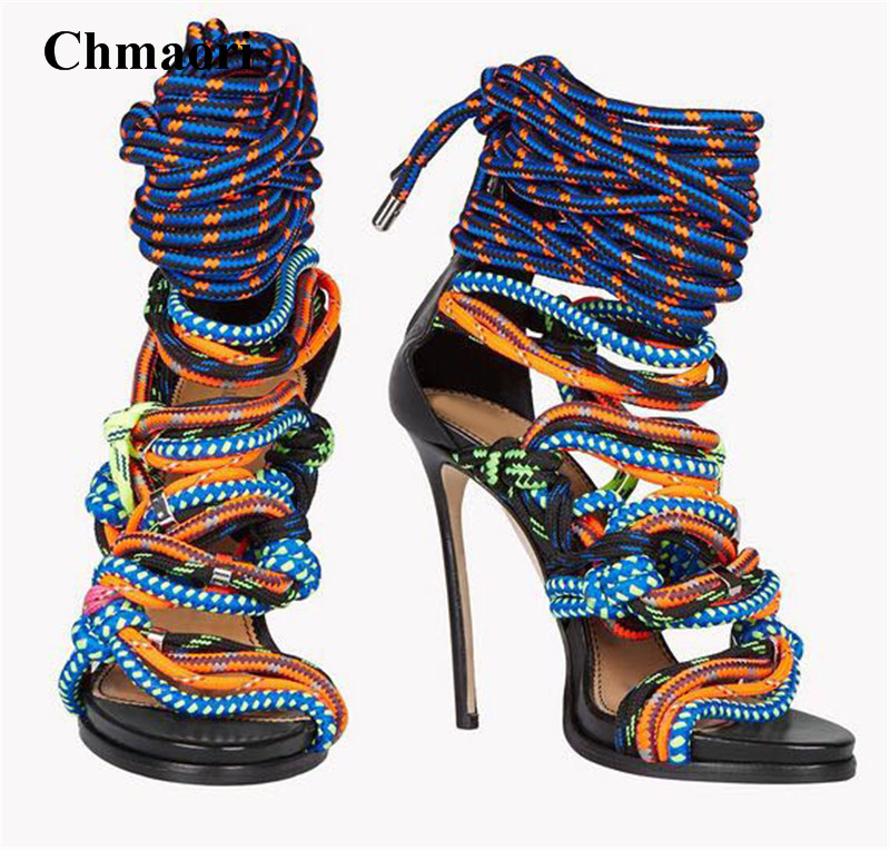 Women Unique Design Open Toe Mix-color Rubber Band Rope Gladiator Sandals Cut-out Ankle Wrap High Heel Sandals Dress Shoes graceful low cut wrap high slit print pure color maxi dress