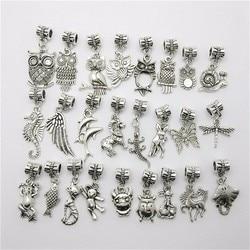 Mix 30pcs Fashion Big Hole Loose Beads European Pendant Animal Bead Fits Pandora Charms Bracelets & pendants diy Jewelry