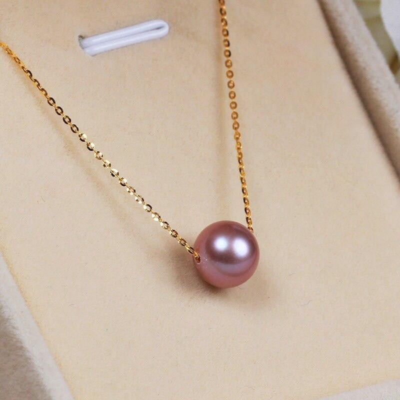 Livraison Gratuite>>>> 8-9mm naturel du sud mer lavande perle collier 925 argent