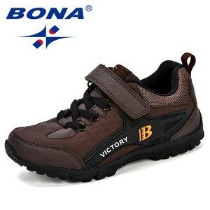 Image 4 - BONA новый дизайн, стильная детская спортивная обувь для мальчиков, Весенняя амортизирующая подошва, слипоны, лоскутные дышащие детские кроссовки, беговые кроссовки