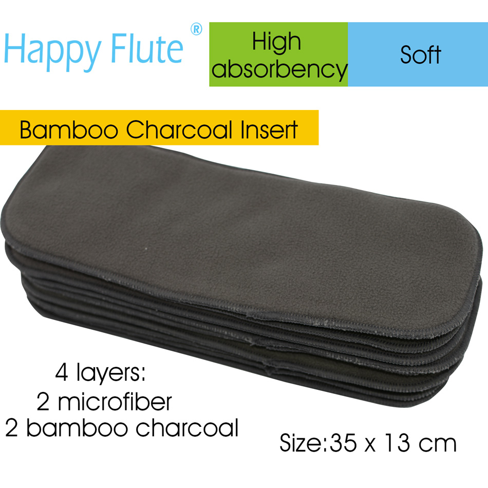 Charcoal Bamboo Diaper Insert, Na[[y Insert, Diaper Pad For All HappyFlute Onesize Diaper Cover, Pocket Diaper,35cm X13cm.l