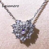 LASAMERO Halo 0.205CT 18k White Gold Heart Cut Natural Diamond Accents Romantic Pendant Necklace Chains