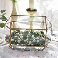 Europe Table Top carte boîte grand mariage décoration Vase verre conteneur géométrique clair enveloppe boîte Terrarium cadeau cuivre