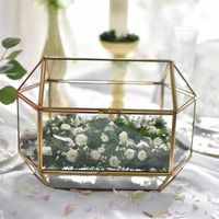 Tabletop Glass Card Box Large Wedding Decoration Vase Container Geometric Clear Top Lid Recipe Envelope Box Glass Terrarium Gift