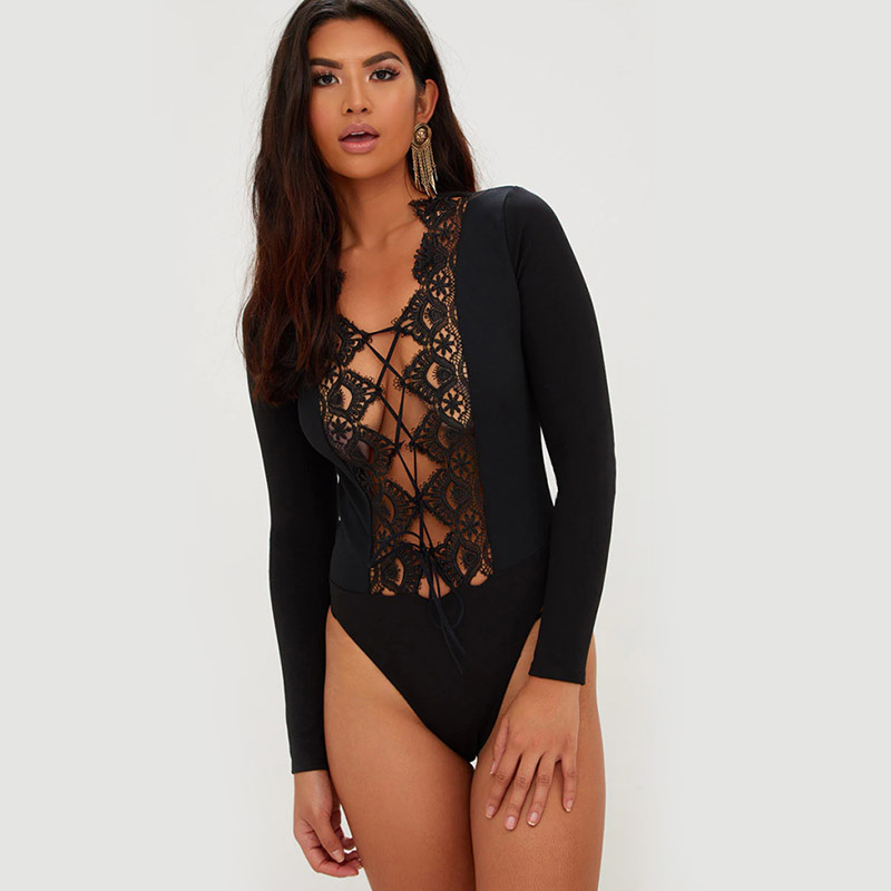 Women Spring Long Sleeve Sexy Lace Rompers Summer Hollow Out See Through Streetwear Club Jumpsuit Party Fashion Hot Bodysuit
