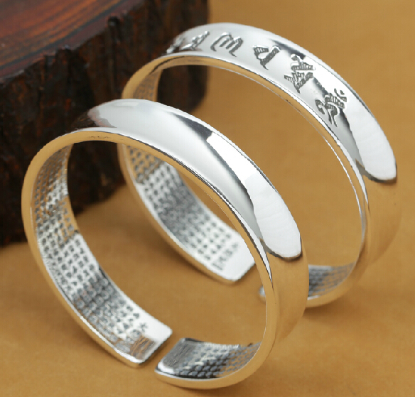 NEW Handcrafted 999 Silver Bangle Tibetan OM Mani Padme Hum Bangle Real Pure Silver Buddhist Mantra Bangle Tibetan OM Bangle
