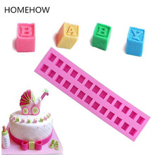 Topnew Big Size Solid Cube Shape Alphabet Letter Silicone Cake Mold Birthday Party Supplies Candy Cupcake Decorating