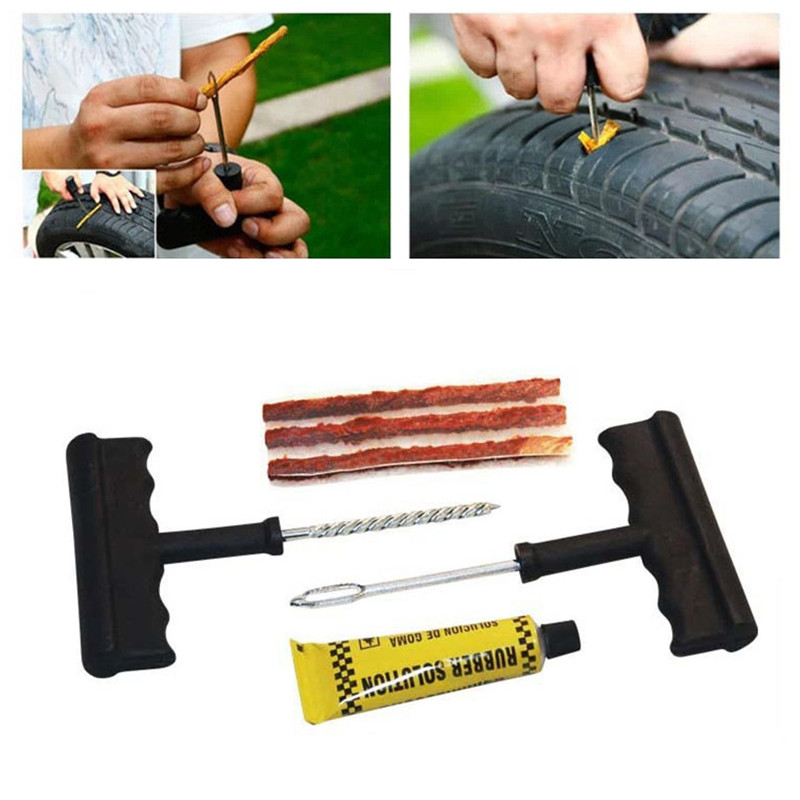 Car Tire Repair Tools Tubeless Tyre Puncture Repair Plug Kit Needle Patch Fix Tool Cement Useful Sets