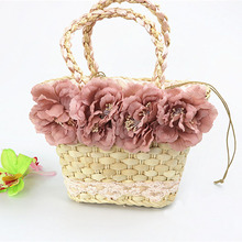 New Womens Handbag Natural Corn Husk Hand-woven Rattan Four Flowers Straw Bag Summer Travel Beach Bags Fashion Ladies Handbags