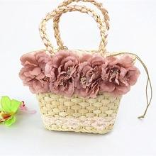 New Womens Handbag Natural Corn Husk Hand-woven Rattan Four Flowers Straw Bag Summer Travel Beach Bags Fashion Ladies Handbags