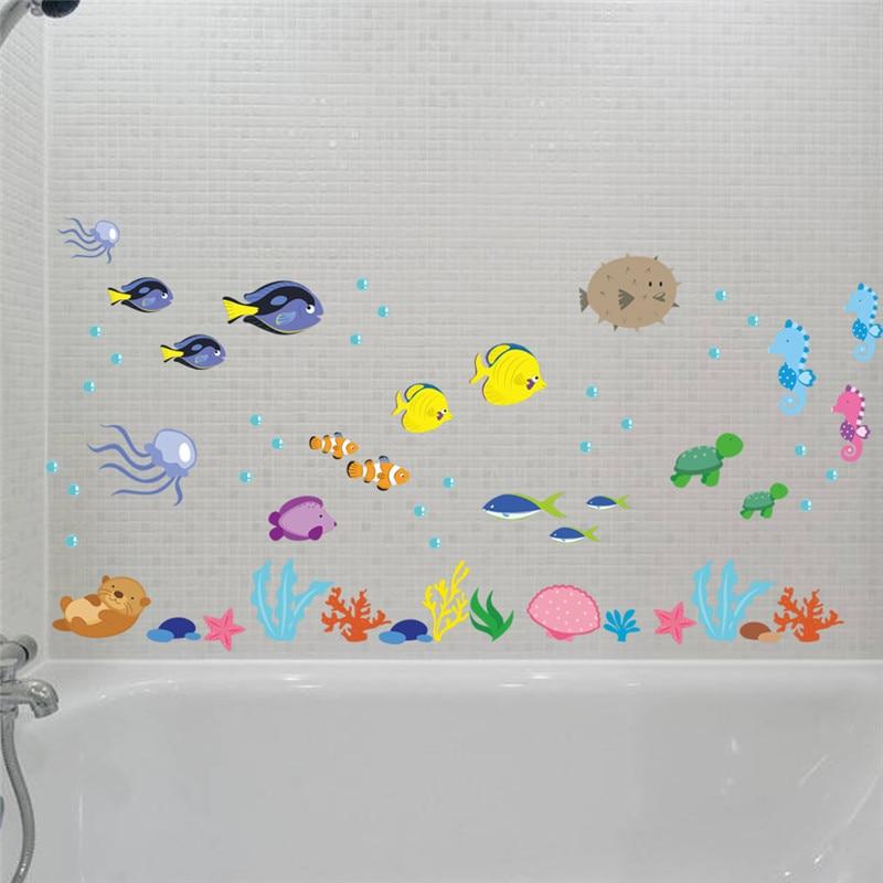 PVC Unterwasser Meer Fisch Wandaufkleber bad Wc Kindergarten ...