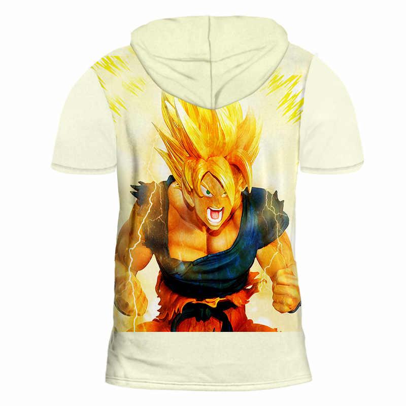 OGKB летние топы Для мужчин с капюшоном футболка принт Супер Саян Гоку 3d Кепки футболки человек хип-хоп уличной Готический худи с коротким рукавом