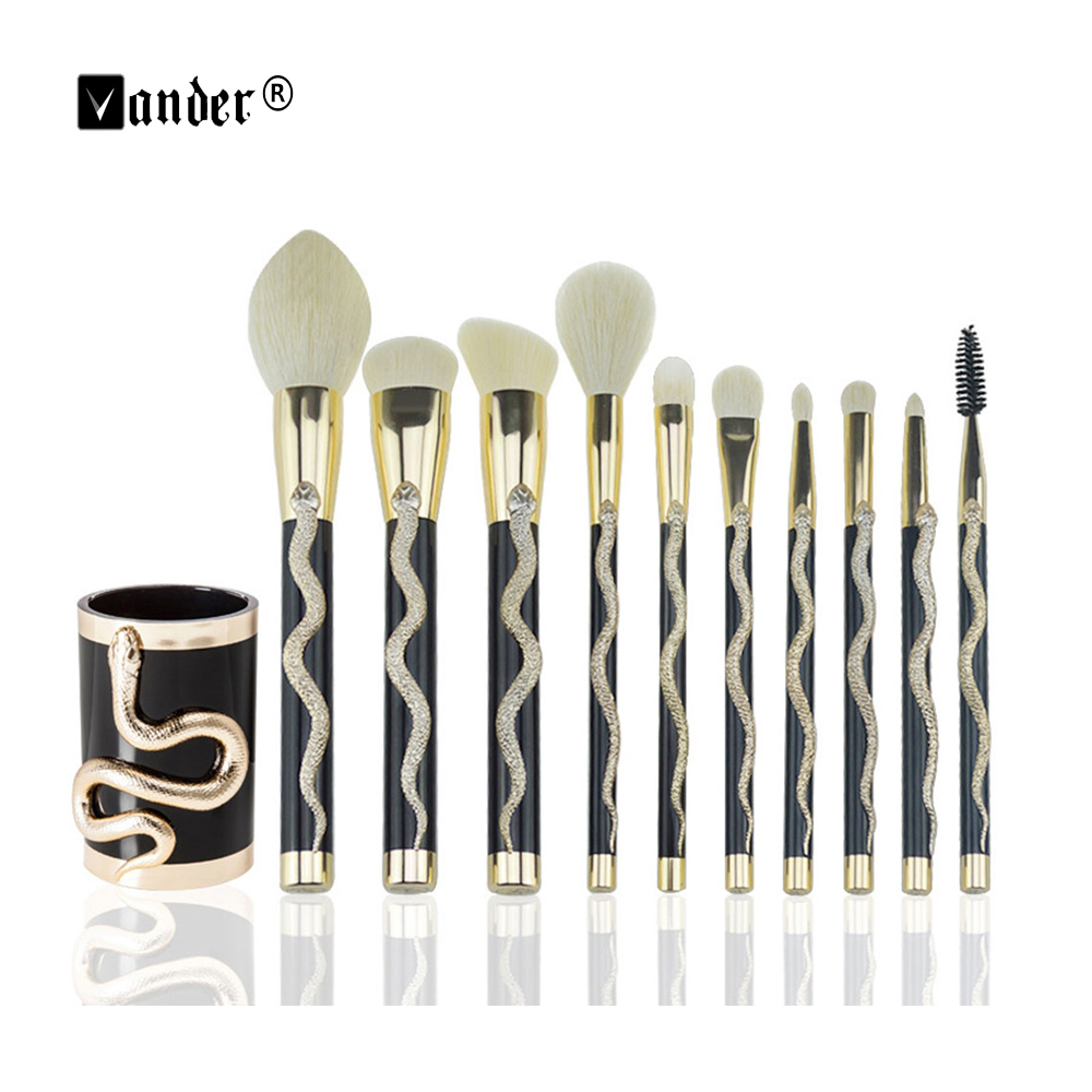 VANDER Makeup Brushes Professional 10 Pcs Makeup Brush Set Foundation Powder Blush Make Up Tools Kit With Brush Bucket high quality 12 18 24 pcs toothbrush shape makeup brush set cosmetics makeup make up metal brushes beauty tools powder brush