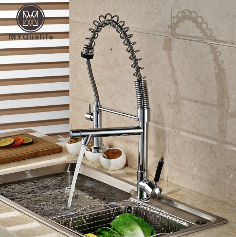 Chrome Finished Pull Out Spring Kitchen Faucet Deck Mount Swivel Spout Vessel Sink Mixer Tap Dual Sprayer golden brass kitchen faucet dual handles vessel sink mixer tap swivel spout w pure water tap