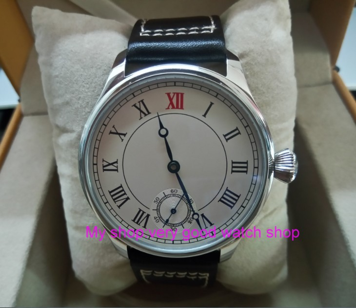 44mm PARNIS Asian ST3621/6498 Mechanical Hand Wind movement Mechanical watches white dial men