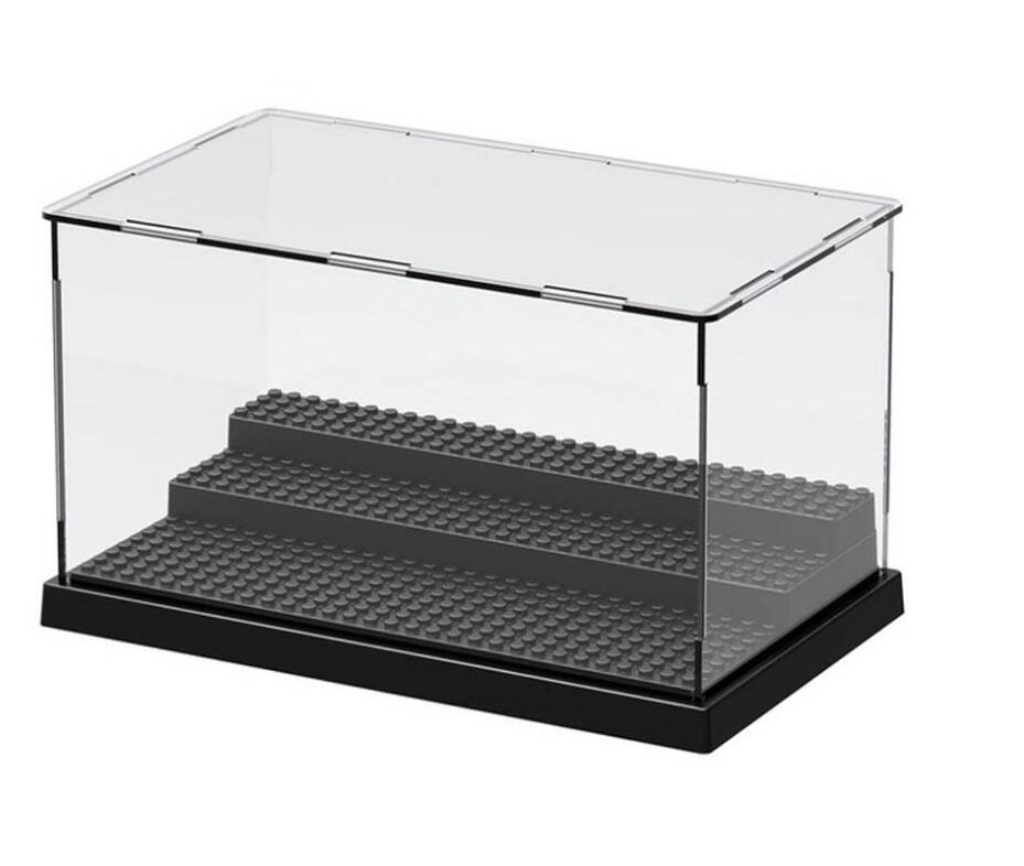 1pc Legoinges Display Case/Box Dustproof ShowCase Gray Base For Blocks Acrylic Plastic Display Box Case 25.5X15.5X13.8cm