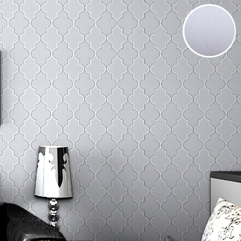 Moroccan Trellis Black White Modern Geometric Pattern Wallpaper Roll Quatrefoil Wall Paper Bedroom Live Room Background Decor