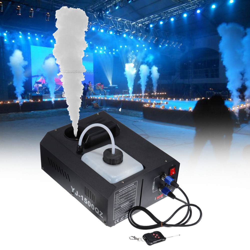 (Shipping From US)2Pcs 1500W 2L Vertical Stage DMX 2L Fogger Fog Smoke Machine Upspray w/ Remote