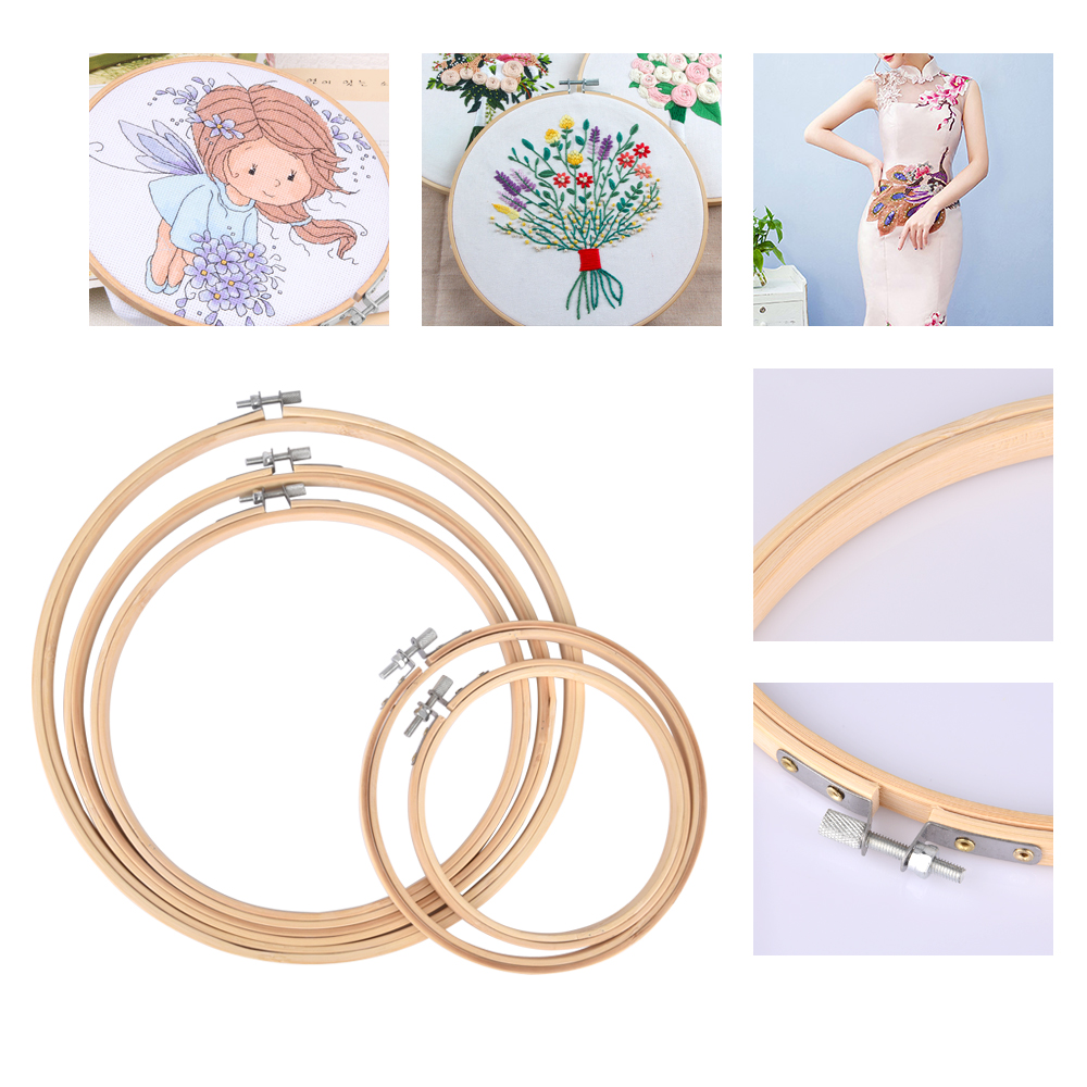 5 PCS Different Sizes Embroidery Hoop Circle Set Bamboo Frame Art Craft DIY Cross Stitch Chinese Traditional Sewing Manual Tools