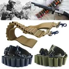 Outdoor Airsoft Hunting Tactical Shot Gun Nylon Shell Holder Buttstock Bandolier Belt 15 Gauge Ammo Holder Military Gun Sling