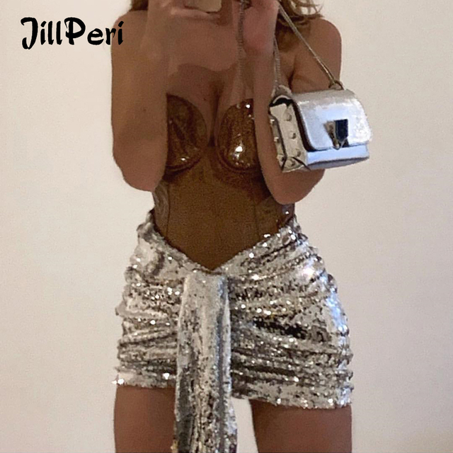 JillPeri Women Stretch Sequined Short Skirt Sexy V Waist Draped Pleated Skirt Daily Outfit Sparkle Shinny Sequin Club Chic Skirt