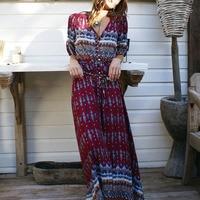 Women-Bohemia-V-neck-Three-Quarter-Sleeve-Floral-Print-Ethnic-Autumn-Beach-Boho-Long-Dress-Retro-Hippie-Vestidos-Boho-Dress-2