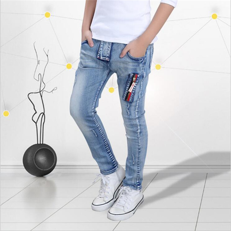 2018 spring new boy jeans childr Trousers and cashmere jeans Korean children's baby trousers CUHK children's cotton bombs