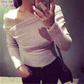 Sexy Cross V neck off the shoulder Pullover Sweater Women Crop Top Novelty Irregular Slash neck Knitted Jumper Knitwear 5 colors