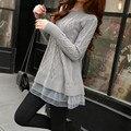 016 de las Nuevas Mujeres Calientes Delgado Largo Losse Casual Suéteres Damas de Punto de Moda Suéter de manga Larga Pullover Tops D398