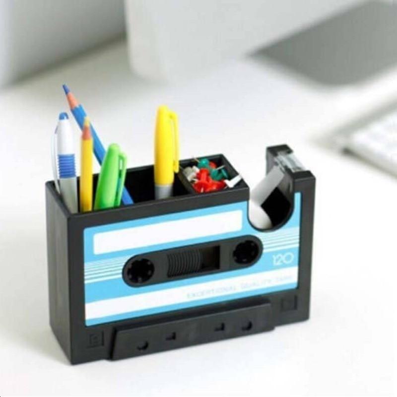 Pen Pencil Holder Cassette Tape Box Office Desktop Organizer Pen Container Storage with tape dispenser