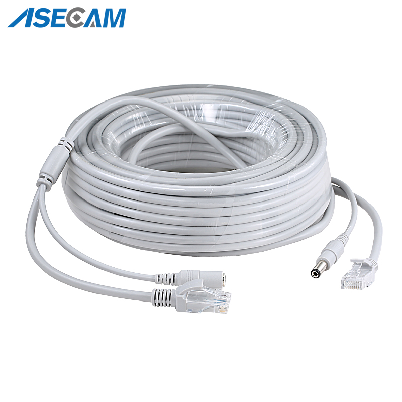 Купить с кэшбэком RJ45 Ethernet CCTV Cable Cat5e DC Power Cat5 Internet Network LAN Cable Cord PC Computer For POE  IP Camera System Concatenon