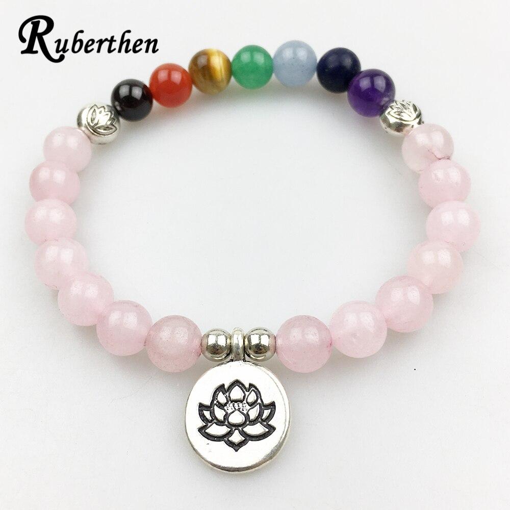 Ruberthen Vintage Braccialetto delle Donne di Disegno Equilibrio Yoga 7 Chakra Braccialetto Rosa Pietra Meditazione Braccialetto Di Loto
