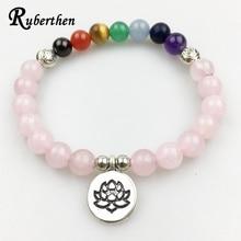 Ruberthen Vintage Design Women`s Bracelet Balance Yoga 7 Chakra Bracelet Rose Stone Meditation Lotus Bracelet