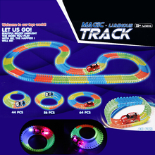 DIY Assembly Glow electric Race Track Bend Flex Glow in the Dark Toys with 1pc LED Slot Rail Car Educational toys for Children
