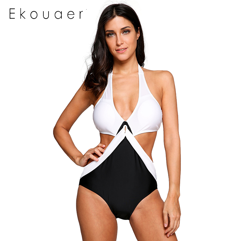 Ekouaer Sexy Bikini 2018 Swimwear Women Halter Deep V Neck Contrast Color Monokini One Piece Swimsuit Maillot De Bain 4