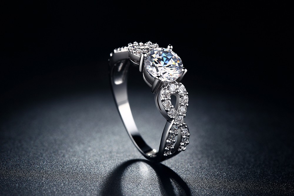 White Gold Plated CZ Diamond Infinity Ring