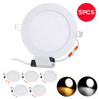 5PCS Super Thin Round LED Recessed Ceiling Panel Down Lights 21W 2100LM Warm White LED Ceiling Lamp Spot Down Light AC110 240V